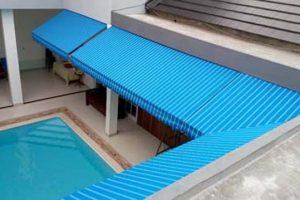 canopy kain type standard, warna kain biru tosca garis putih (RC 416)