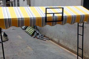 canopy kain tipe gable, kain warna kuning garis abu (RC 423)