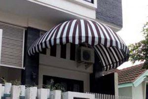 canopy kain tipe dome, warna kain coklat tua dan putih (RC 206)